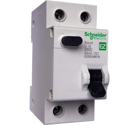 Фото дифавтомата Schneider Electric EASY 9 1п+N 2мод. С 25A 30mA AC 4.5кА EZ9D34625