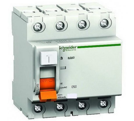 Фотоуза Schneider Electric ВД63 Домовой 4п, 63 A, 30 mA, AC SchE 11466