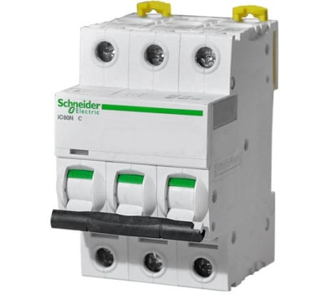 Фото автомата Schneider Electric iC60N Acti9 3п C 25А 6кА A9F79325